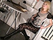 Horny Nubile plays with her delicate pussy in a chair