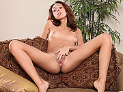 Petite amateur Stacey Alley sucks her toes before masturbating