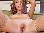 Seductive Bianca uses her talented fingers to make her pussy cum